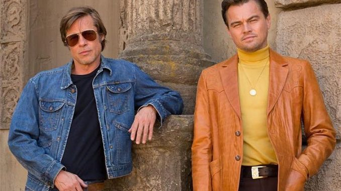 Brad Pitt and Leonardo DiCaprio in Once Upon A Tim In Hollywood